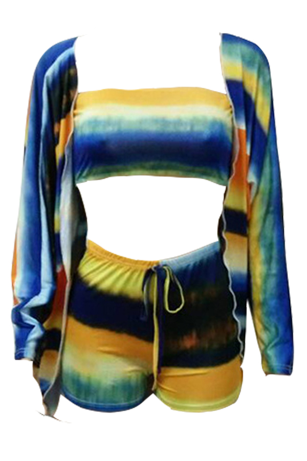 Lovely Fashion Long Sleeves Printed Three-piece Shorts Set
