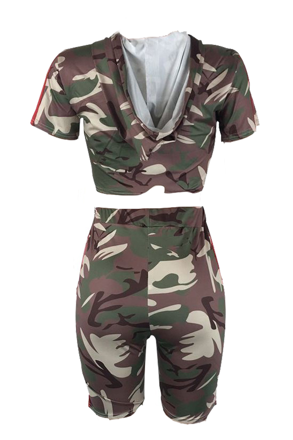 Lovely Casual Short Sleeves Camouflage Printed Two-piece Shorts Set