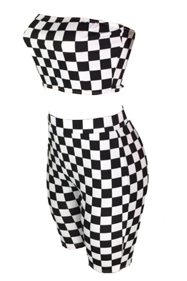 Lovely Fashion Plaid Black Twilled Satin Two-piece Shorts Set