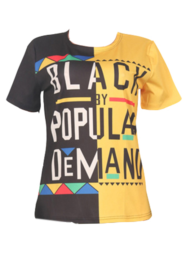 LovelyStreet Round Neck Letter Printed Black+Yellow Patchwork T-shirt