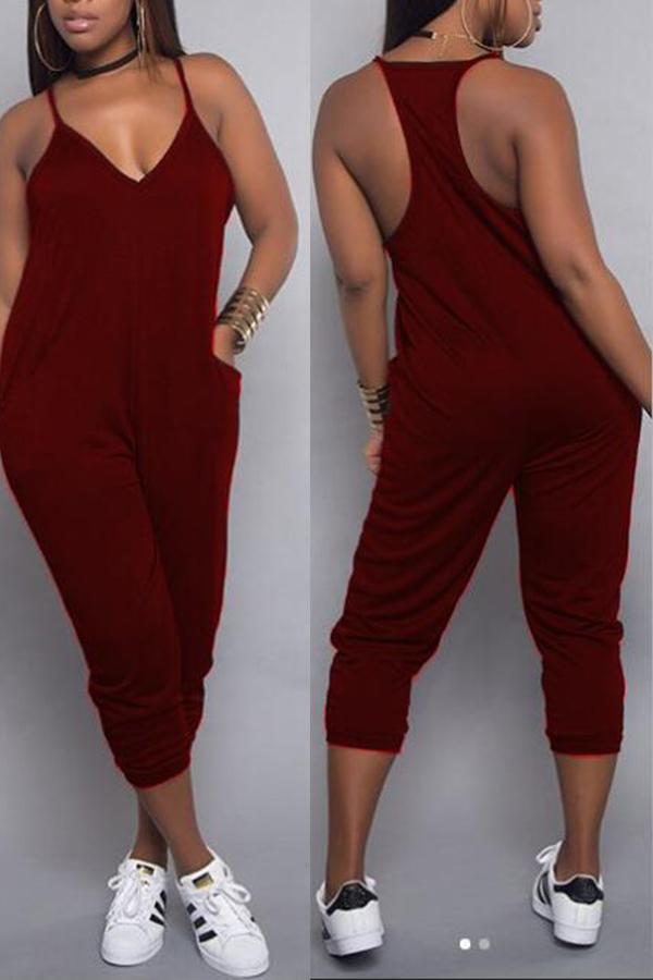 Lovely Euramerican Dew Shoulder Wine Red One-piece Jumpsuit