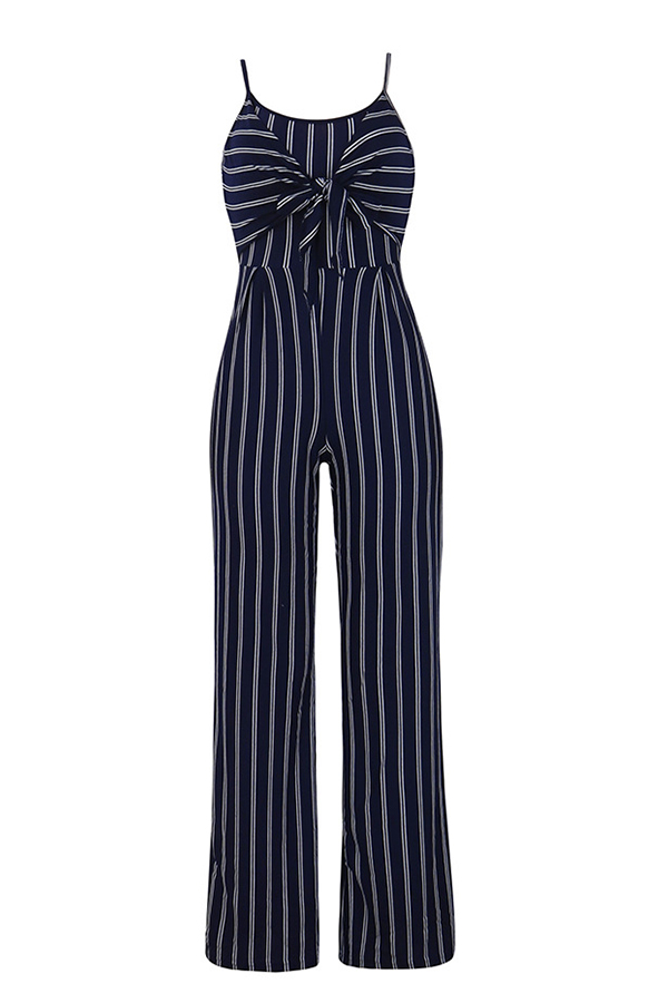Lovely Euramerican Striped Royalblue One-piece Jumpsuit