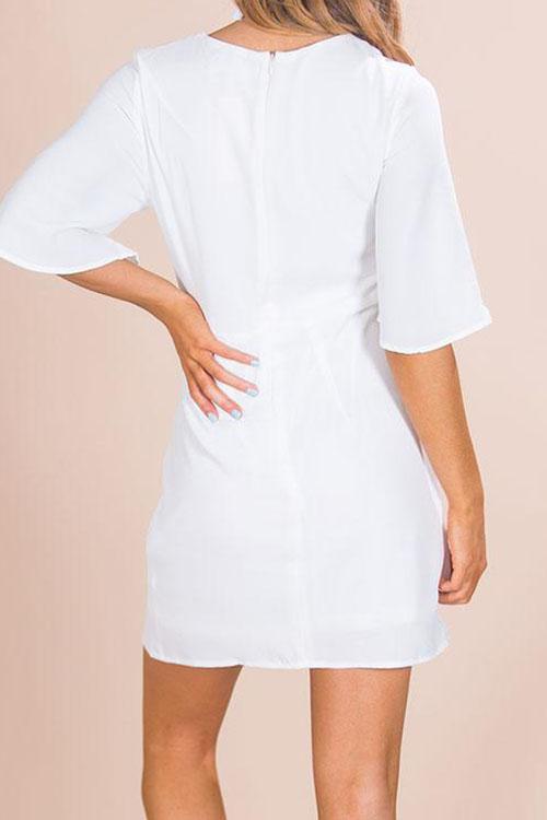 Lovely Polyester Fashion Half Sleeve O Neck Mini Dresses