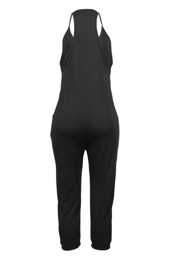 LovelyFashion V Neck Pocket Design Black One-piece Jumpsuits