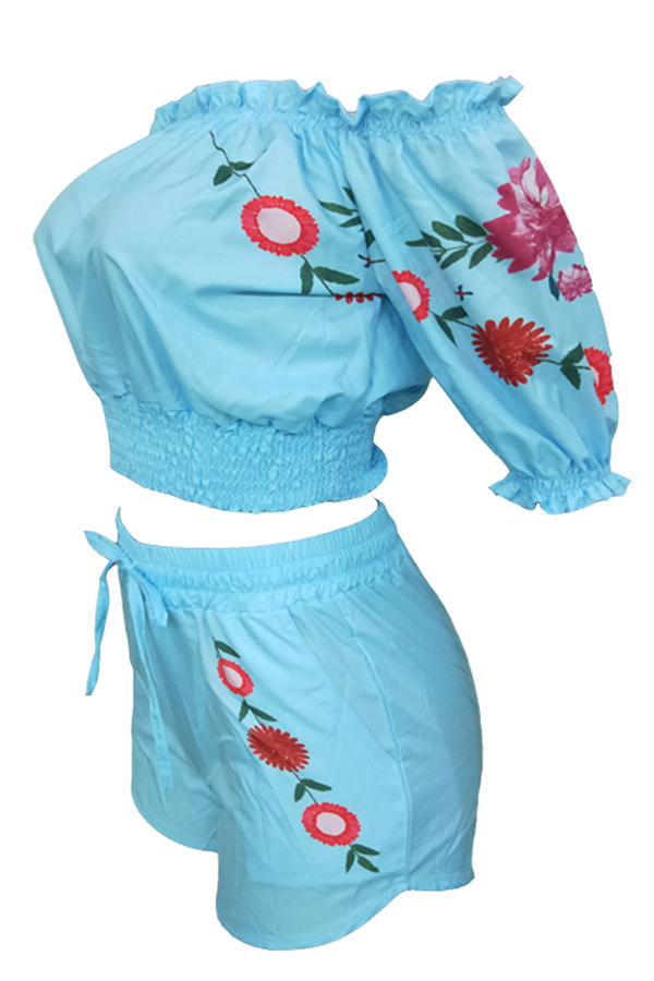 LovelyCasual Bateau Neck Floral Printed Baby Blue Two-piece Shorts Set