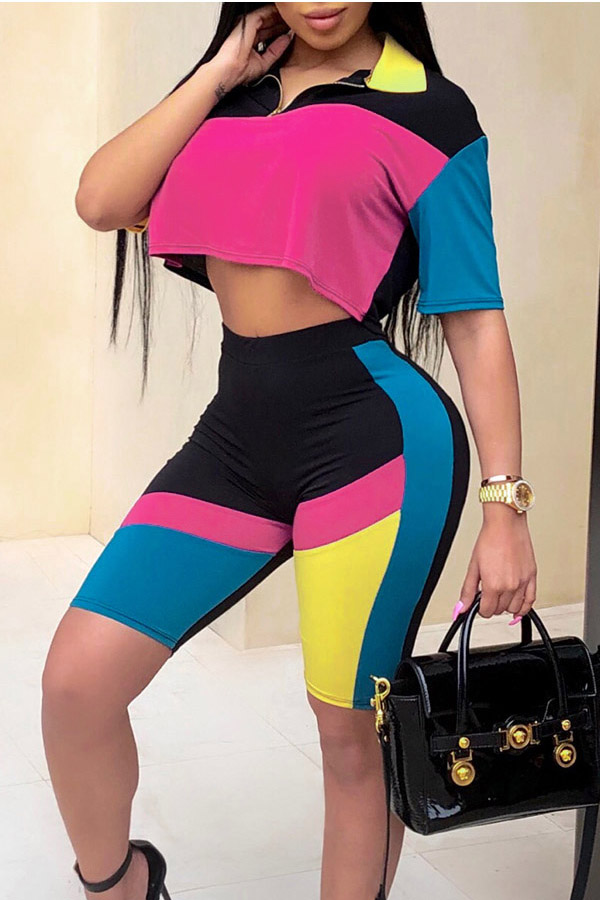 Lovely Fashion Turndown Collar Color Block Patchwork Two-piece Shorts Set