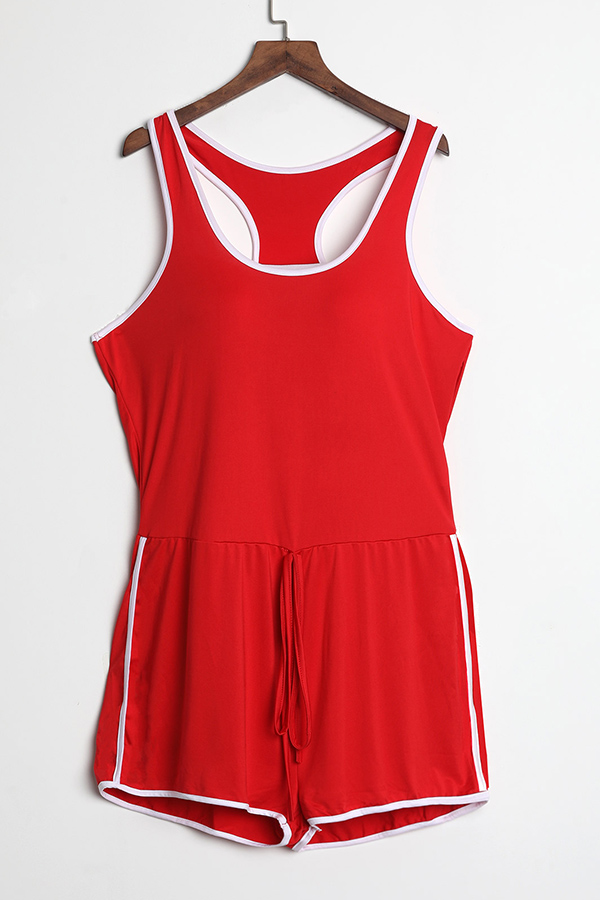 LovelyLeisure Bright Red Polyester One-piece Jumpsuit