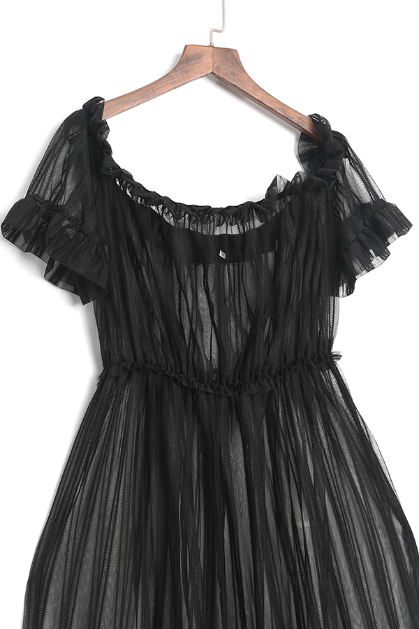 LovelySexy Bateau Neck See-Through Black Polyester Ankle Length Dress(Without Subcoating)