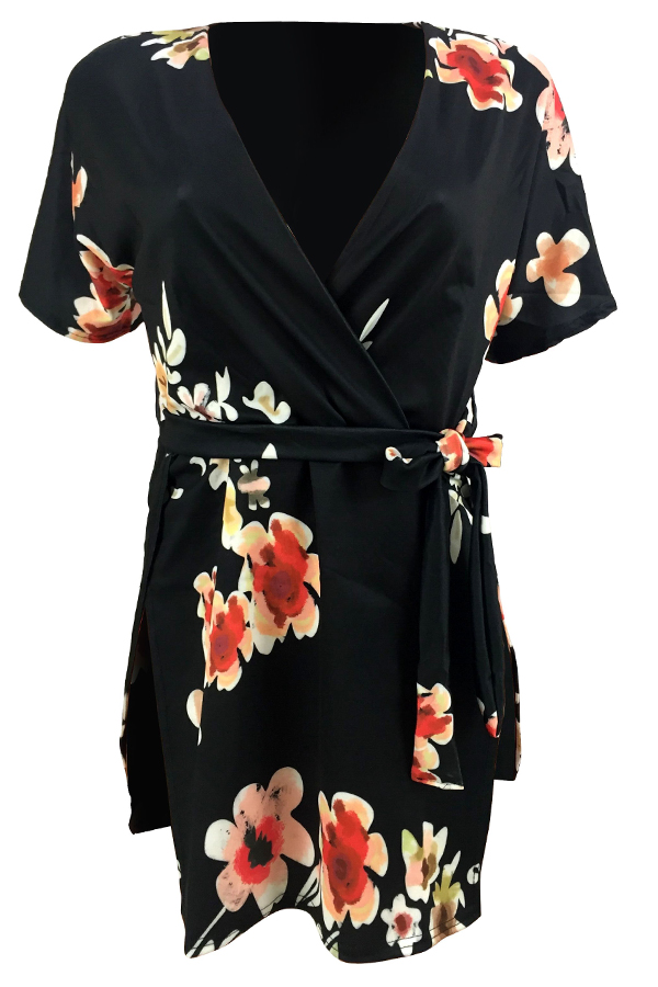 LovelySexy Printed Black Twilled Satin Mini Dress