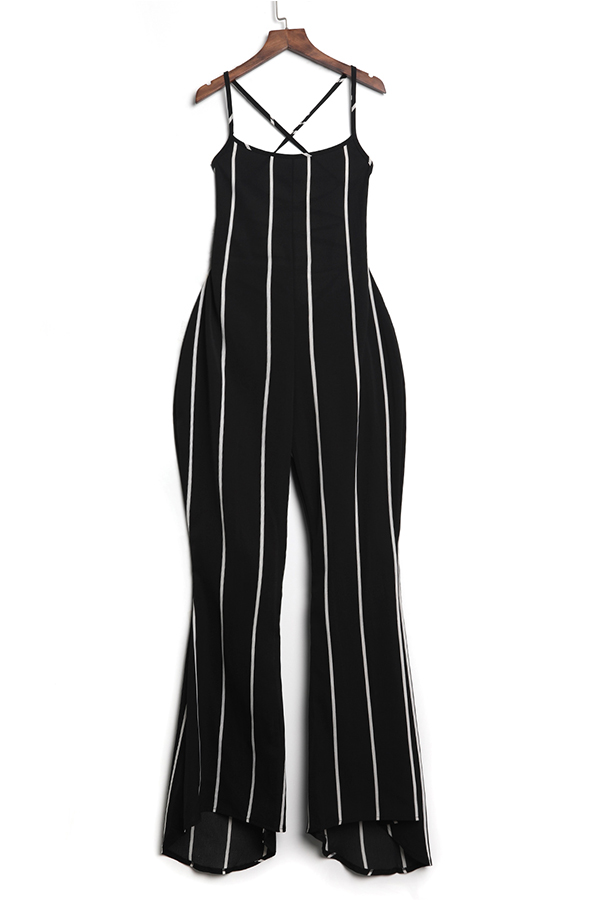 LovelySexy Striped Backless Black Polyester One-piece Jumpsuit