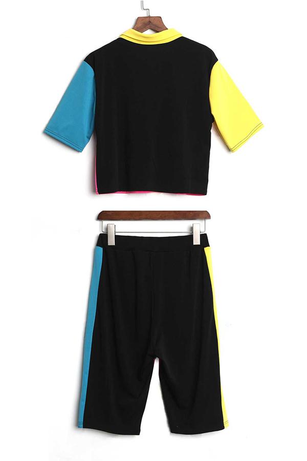 LovelyFashion Turndown Collar Color Block Polyester Two-piece Shorts Set