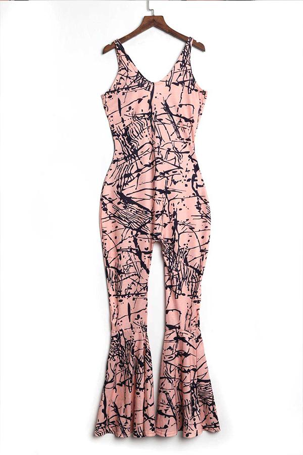 LovelyTrendy U Neck Printing Pink Spandex One-piece Jumpsuits