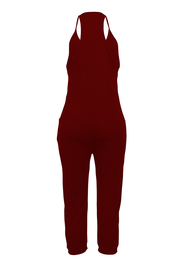 Lovely Euramerican Dew Shoulder Wine Red One-piece Jumpsuit
