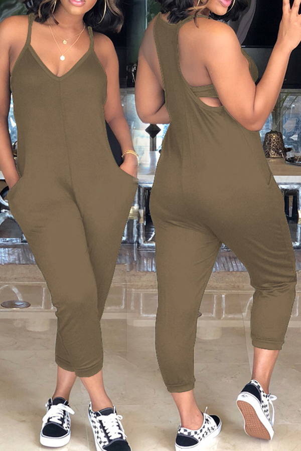 LovelyEuramerican Dew Shoulder Khaki One-piece Jumpsuits