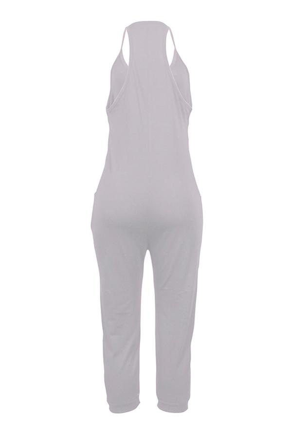 Lovely Euramerican Dew Shoulder Grey One-piece Jumpsuit