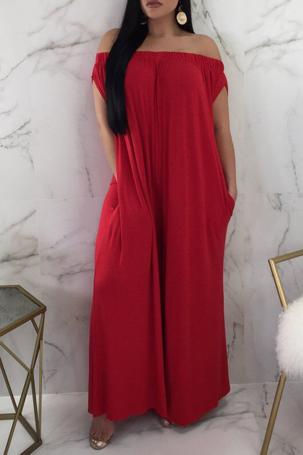 Lovely Euramerican Dew Shoulder Red One-piece Jumpsuit