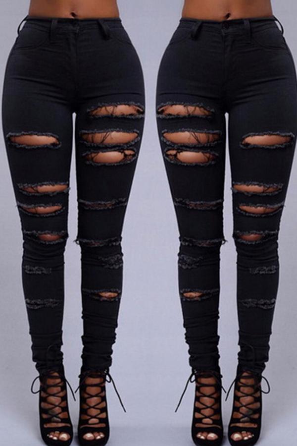 Lovely Euramerican Broken Holes Black Pants