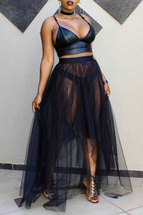 Lovely Sexy V Neck See-Through Black Two-piece Skirt Set