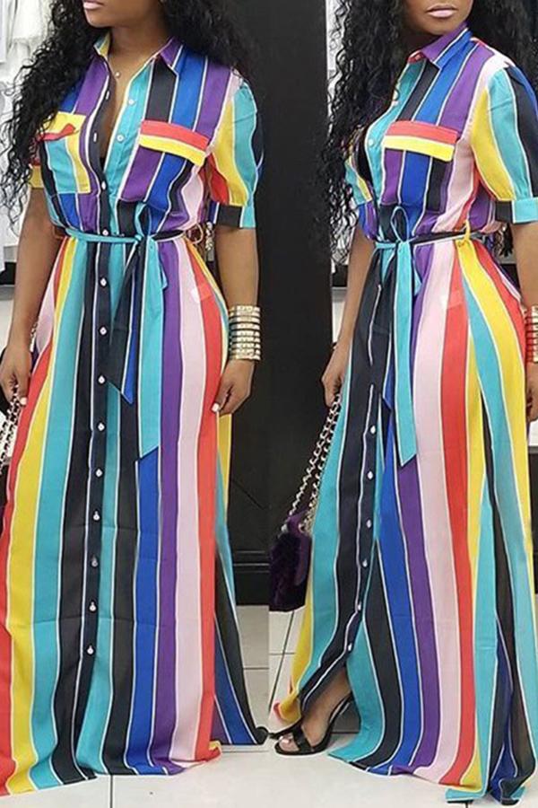 LovelyEuramerican Striped Blue Floor Length Dress