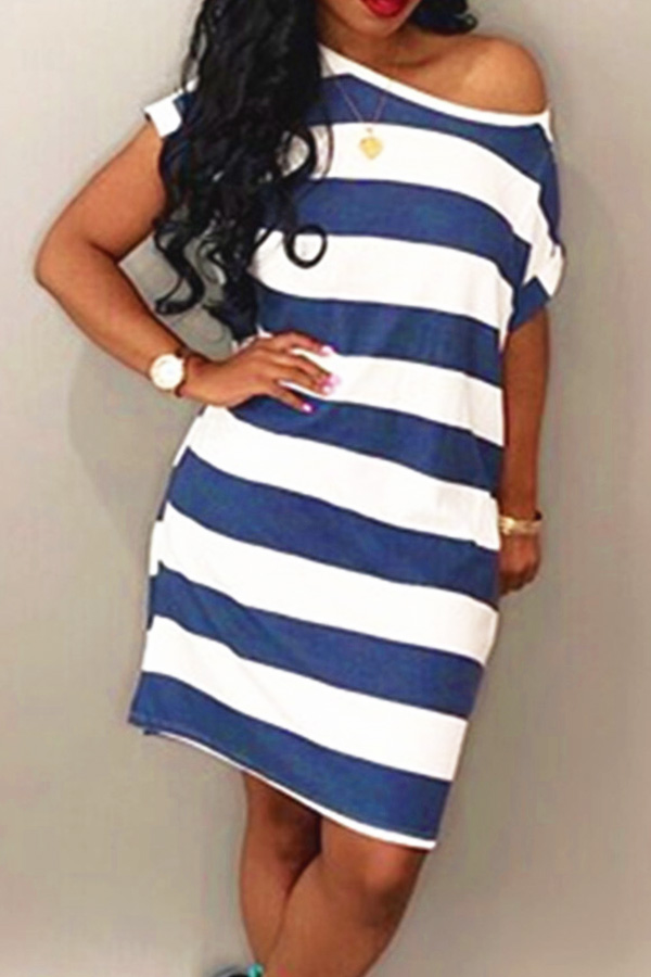 Lovely Euramerican  Dew Shoulder Striped   White Mid Calf Dress