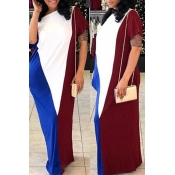 LovelyCasual Short Sleeves Patchwork Wine Red Cotton Blend Floor Length Dress