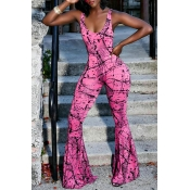 Lovely Street U Neck Printing Rose Red Spandex One-piece Jumpsuits