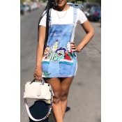 LovelyCasual Round Neck Patchwork Cartoon Printed White Twilled Satin Mini Dress