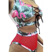 LovelyChic Lace-up Hollow-out Printing Green Polyester Two-piece Swimwears