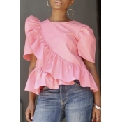 Lovely Casual Round Neck Flounce Pink Cotton Shirt