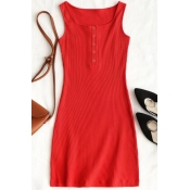 Lovely Casual U Neck Buttons Red Knitting Sheath M