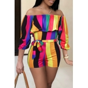 LovelyTrendy Bateau Neck Colorful Striped Qmilch O