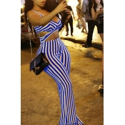 Lovely Casual V Neck Striped Blue Twilled Satin One-piece Jumpsuits