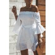 Lovely Fashion Bateau Neck Flounce Irregular White