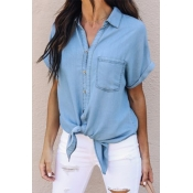 Lovely Casual Turndown Collar Buttons Baby Blue Co