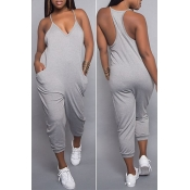 Lovely Casual Fashion V Neck Pocket Design Grey One-piece Jumpsuits