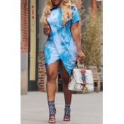 Lovely Casual Round Neck Printing Irregular Light Blue Polyester Mini Dress