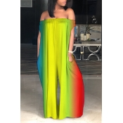 LovelyCasual Bateau Neck Rainbow Printed Qmilch One-piece Jumpsuits