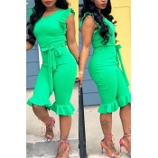 LovelyPretty Round Neck Flounce Green One-piece Ro