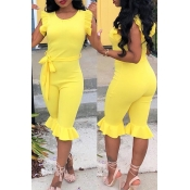 LovelyPretty Round Neck Flounce Yellow One-piece Romper