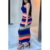 Lovely Casual U Neck Colorful Striped Royalblue Twilled Satin Ankle Length Dress
