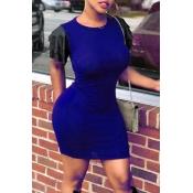 Lovely Casual Round Neck Flounce Dark Blue Qmilch Mini Dress
