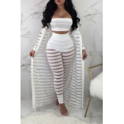Lovely Sexy   Hollow-out White Three-piece Pants S