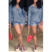 Lovely Casual Hooded Collar Blue Two-piecec Shorts