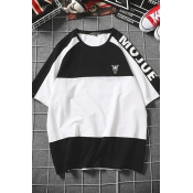 Lovely Casual Black-white Patchwork Cotton T-shirt