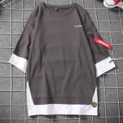 Lovely Casual Dark Grey Cotton T-shirt for men