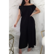 LovelyCasual Dew Shoulder Black Cotton Blends One-piece Jumpsuit