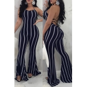 LovelySexy Striped Backless Blue Polyester One-piece Jumpsuit