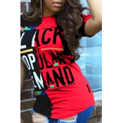 LovelyCasual Round Neck Letters Printed Red T-shirt