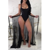 Lovely Sexy See-Through Black Two-piece Swimwear