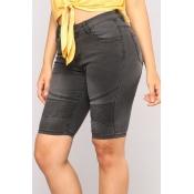Lovely Trendy High Waist Black Denim Shorts